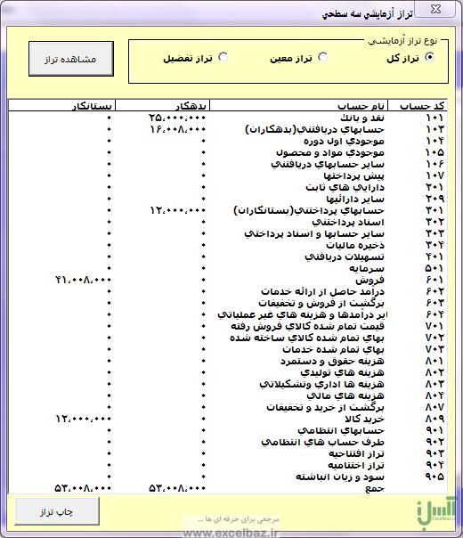برنامه حسابداری با اکسل