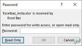 تعیین رمز عبور برای اکسل